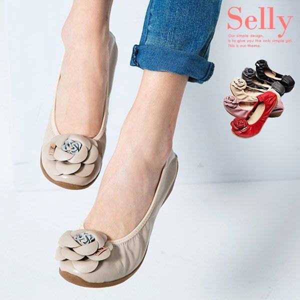 經典山茶花-柔軟彎折厚底坡跟牛皮娃娃鞋-8色-Selly-沙粒-(13Q23)