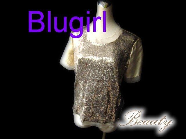 *Beauty*Blugirl金色亮片絲質襯衫 WE14