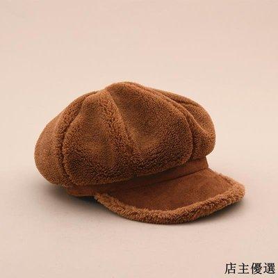 帽子女冬季保暖毛絨八角帽文藝復古帽檐貝雷帽韓版百搭學生畫家帽