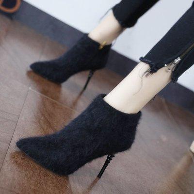新品上新韓版加絨毛毛高跟短靴女士性感螺旋細跟尖頭網紅靴子2018冬季新款