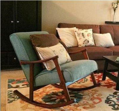 美式簡約現代單懶人沙發椅搖搖椅北歐成人實木休閑客廳陽台逍遙椅