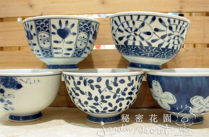 日本製有田焼五彩絵陶瓷碗組/茶漬揃--秘密花園