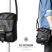 SCHEMER/ 8366牛皮製隨身側背包 黑色皮革側背包 黑色側背子母包 真皮隨身旅遊小包