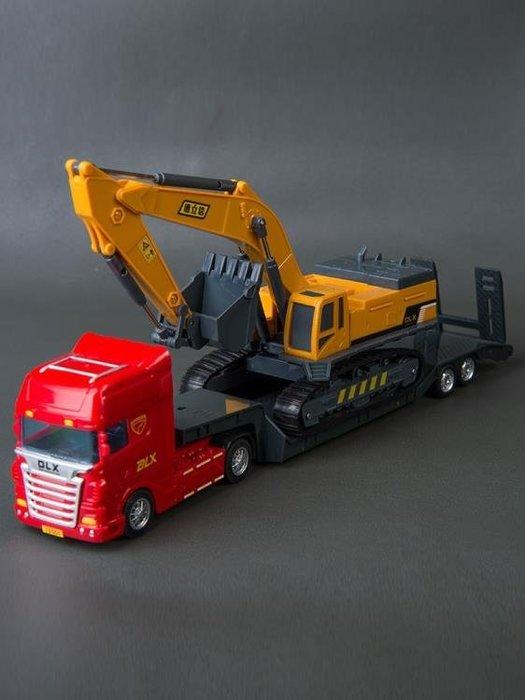 大號滑行平板拖車坦克挖掘機鏟車運輸卡車模型兒童工程車貨車玩具BBXZ17813
