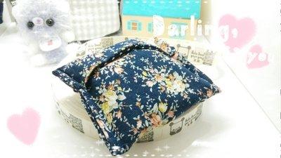 雙面 歐風花園水玉點點拼布 棉麻耳機電池 訂作 萬用包 生理包 衛生棉包 護墊包 面紙包 情人節 婚禮小物