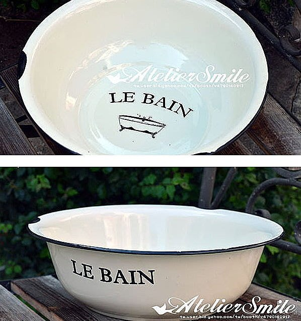 [ Atelier Smile ] 鄉村雜貨 復古作舊法式 LE BAIN 搪瓷臉盆 直徑 34CM (現+預)