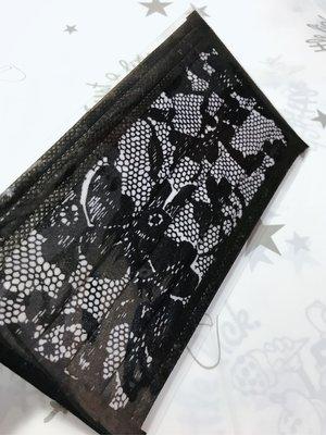 (限量)MIT HO-TO 優雅系列 仿蕾絲質感 黑色印花蕾絲 成人口罩 大人平面口罩 (10枚)雙鋼印 特殊收藏