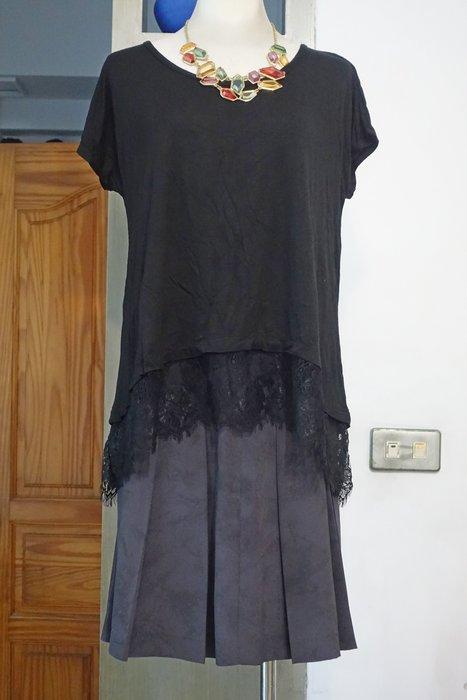 [C.M.平價精品館] L碼/美國PAPER CRANE專櫃前短後長漂亮黑色蕾絲下襬短袖上衣