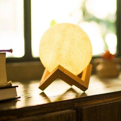 立體的月亮燈 三段亮度 USB充電 比3D打印更厚 盒裝版附底座 小夜燈月球燈枱燈 餵奶燈床頭燈氣氛燈LED生日禮物