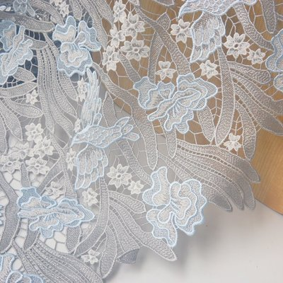 橙子的店 D1高端重工刺繡色織繡花飛翔小鳥水溶蕾絲鏤空布料服裝禮服面料