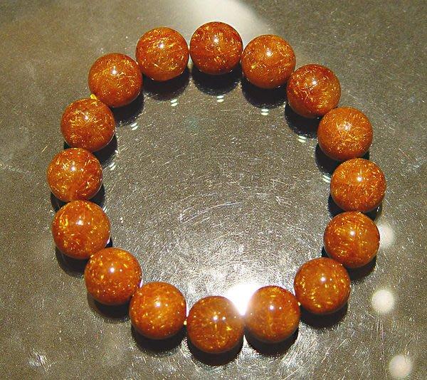 【小熊水晶窩】金髮絲閃亮!頂級!滿絲!橘紅銅鈦晶手鍊A1  重48.1克