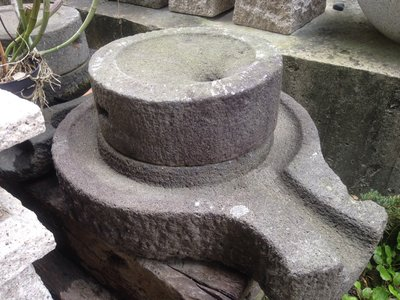 ╭☆雨過天青☆╮臺灣古早石磨  卵石 水盆 景觀石 洗臉盆 園藝水池造景