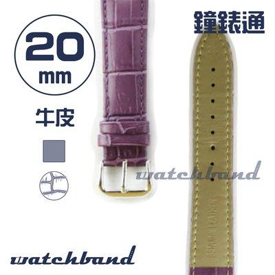 【鐘錶通】C1.70AA《霧面系列》鱷魚格紋-20mm 霧面紫┝手錶錶帶/皮帶/牛皮錶帶┥