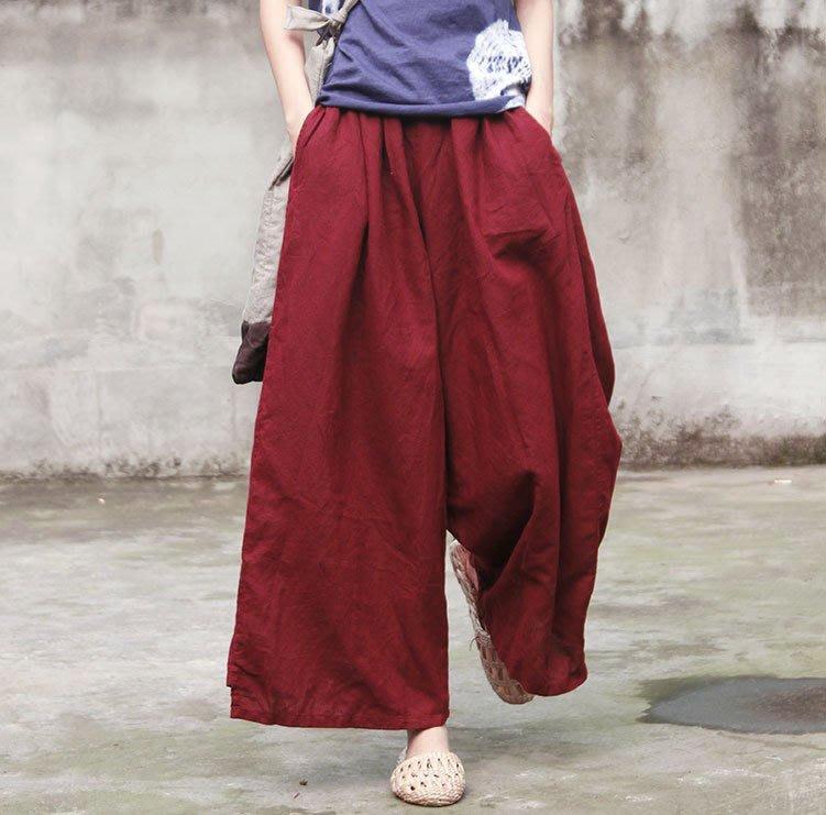 【子芸芳】原創設計女士百搭棉麻寬鬆闊腿褲