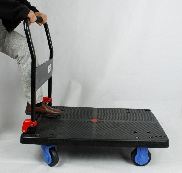 #25大號 黑武士,日本軸承技術 靜音4輪折疊手推車,90*60*19cm高,300kg耐操快遞指定,發財、拉貨車行李車