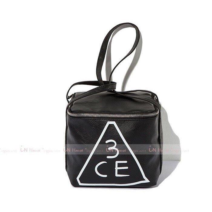 IN House* 韓國美妝 3CE 黑色 仿皮 方形 立體 大容量 旅行 過夜包 化妝包 手提包 收納包 漱洗包