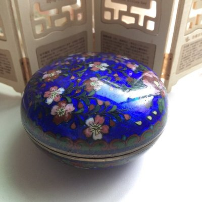 [輕·古物]掐絲琺瑯花卉圓盒珠寶盒首飾盒飾品盒0531