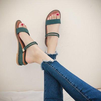 2019夏季新款平底羅馬涼鞋女學生兩穿低跟露趾韓版百搭坡跟涼拖鞋 精品女鞋