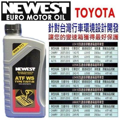 【益迅汽車】日本NEWEST 針對台灣行車環境設計TOYOTA專用變速箱油 豐田 WS ATF