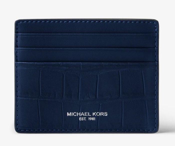 全新美國精品名牌 Michael Kors Men MK 藍色經典款皮革名片夾,附原廠禮盒,低價起標無底價!免運費!