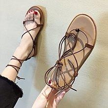小尤家~網紅涼鞋女夏季新款交叉綁帶波西米亞風羅馬鞋韓版百搭沙灘鞋