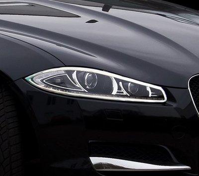 圓夢工廠 Jaguar 積架 捷豹 XF Sportbrake 斜背 2012~2015 改裝 鍍鉻銀車燈框飾貼 前燈框