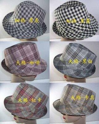 //阿寄帽舖//格紋 男女可載 紳士帽...