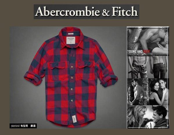 有型男~ A&F Abercrombie&Fitch  X'mas聖誕節長袖紅格紋襯衫 palmer brook  柔綿