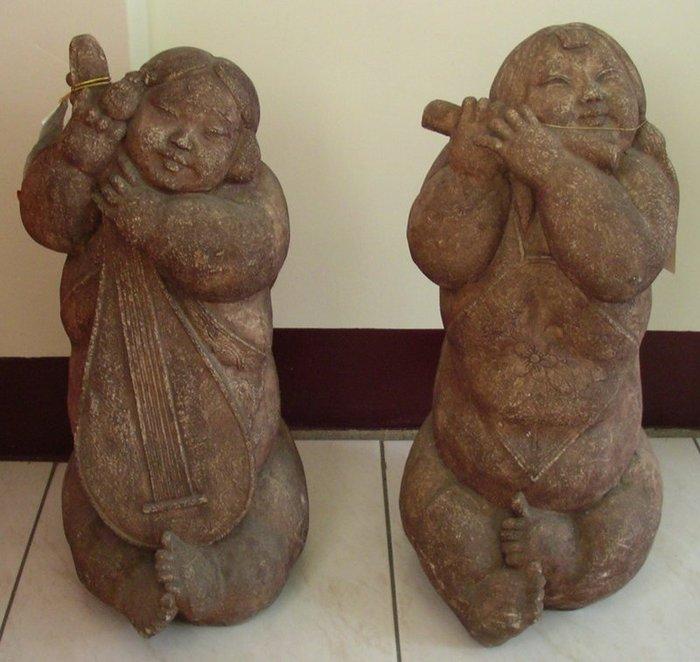 大理石娃娃石雕(琴&笛)兩款