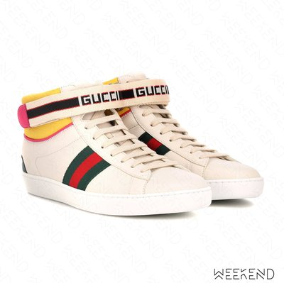 【WEEKEND】 GUCCI High Top 皮革 高筒 綁帶 休閒鞋 白色 18秋冬