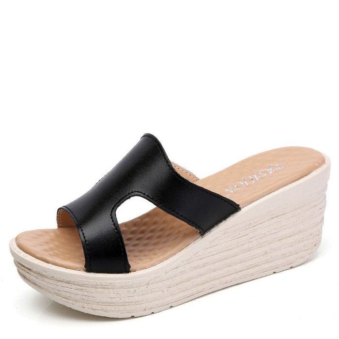 可開發票 黑色/35 涼拖鞋鬆糕厚底防水臺 高跟一字拖防滑鞋C0296