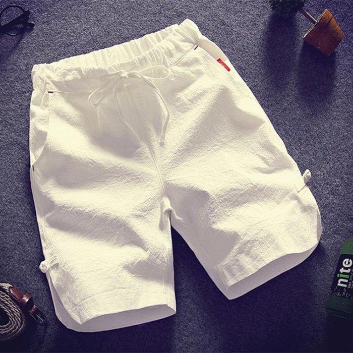 2018夏季寬鬆亞麻休閒褲短褲男褲子薄款純棉運動海灘褲男士五分褲