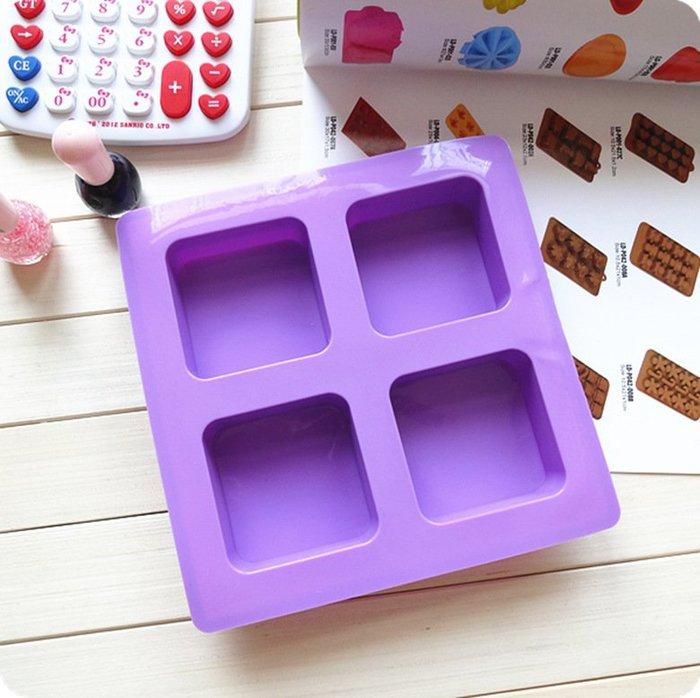 千夢貨鋪-手工皂硅膠模熱冷DIY肥皂模具4連正方形模具115克#手工皂#香皂#製作材料#去螨蟲#清潔