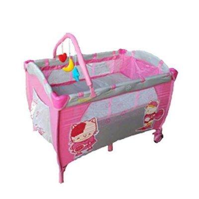 貝比的家-Mother s Love雙層遊戲床(側邊拉鍊活動門、附玩具架、蚊帳、圖案隨機)-粉色-特價1590