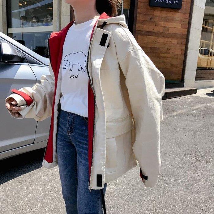 正韓版寬鬆大尺碼BF原宿學生嘻哈風工裝風衣外套女夾克港風棒球服