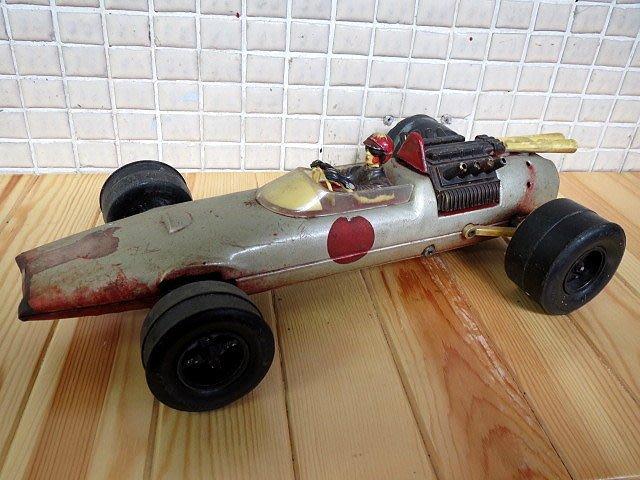 【 金王記拍寶網 】Z256   50年代 早期日本製 老鐵皮 電動賽車 故障品  (正老品) 古董級 罕見稀少珍貴