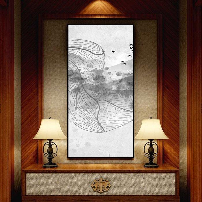 新中式抽象山水風景客廳裝飾畫現代簡約餐廳壁畫掛畫背景牆(3款可選)