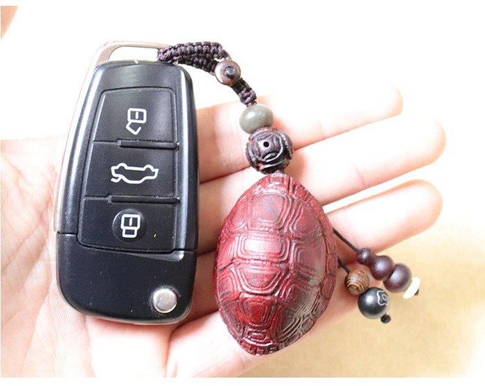 【弘慧堂】 檀木汽車鑰匙掛件 招財龜甲車鑰匙扣 女款 簡約掛飾
