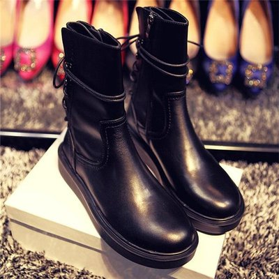 ~Linda~明星同款馬丁靴 平跟短靴 歐美中筒平底機車靴 厚底大碼女靴