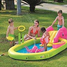 【TreeWalker 露遊】海洋世界遊戲水池 水上溜滑梯(附球.套圈圈等配件) 酷夏安全遊戲池