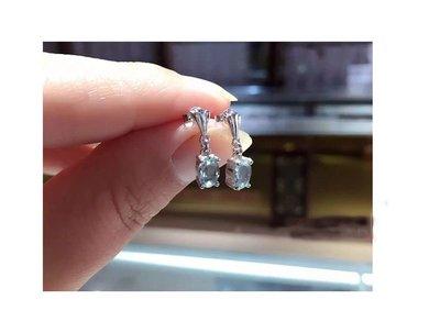 海藍寶拓帕石耳環 (頭等艙精品)925银度白金 天然AAA级