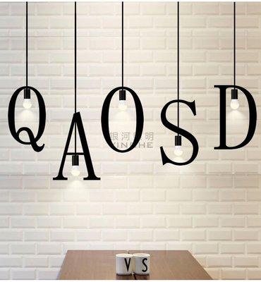 北歐創意吧台個性藝術鐵藝單頭復古餐廳字母吊燈