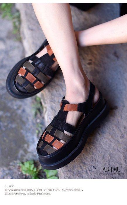 *菇涼家*原创舒適真皮镂空包头凉鞋女新款防水台厚底罗馬凉鞋
