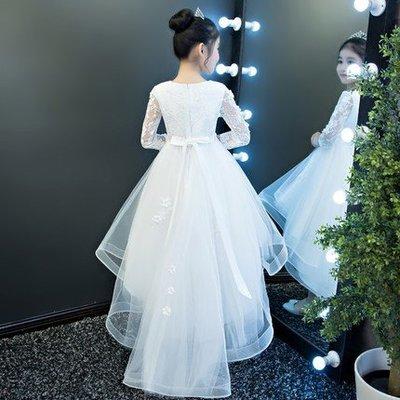 艾琳婚紗禮服~女童婚纱蓬蓬纱拖尾兒童晚禮服公主裙花童鋼琴演出服白色禮服 ~ 3件免運080117-5