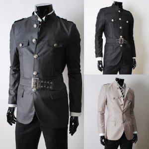 yes99buy加盟-2014秋裝새로운 韓味個性時尚復古風格腰帶設計男式修身夾克 外套