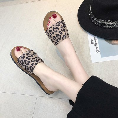 爆款女鞋豹紋露趾拖鞋女外穿2019春夏季新款韓版平底百搭懶人鞋一字涼拖鞋
