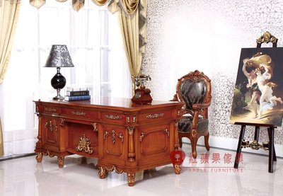 [紅蘋果傢俱] F172W 艾廷軒系列 歐式餐桌 法式 書桌 辦公桌 寫字桌 新古典 實木雕刻  實體賣場