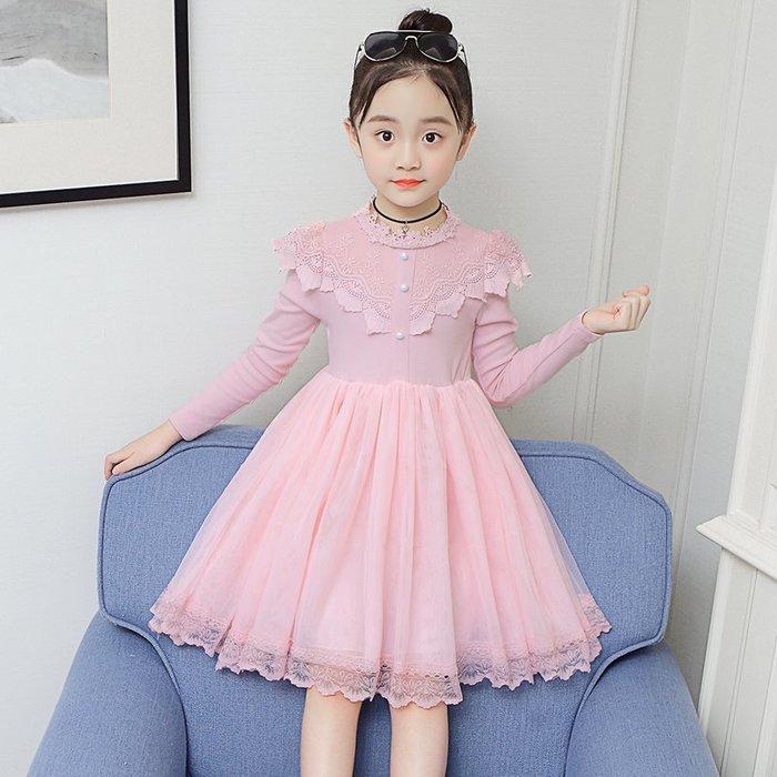 [C.M.平價精品館]新品特價/100~150/清秀小公主多層紗裙襬棉質粉色/綠色長袖洋裝  小童/中大童