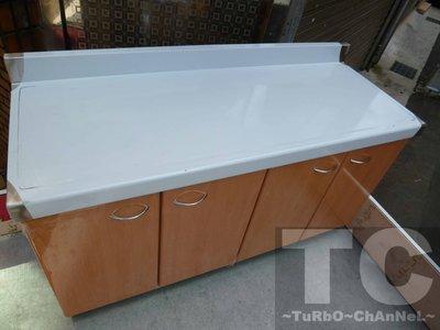 流理台【144公分工作平台】台面&櫃體不鏽鋼 淺木紋色門板 最新款流理臺