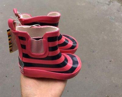 寶寶輕便防滑柔軟橡膠短筒雨靴條紋海軍風學步嬰兒雨鞋